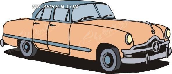手绘杏黄色汽车