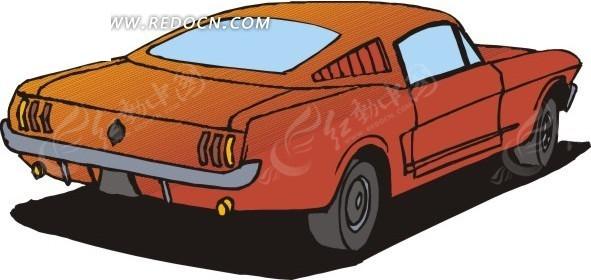 暗红色的小汽车手绘素材