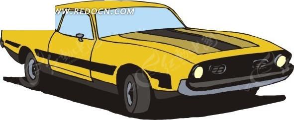 黄色的小汽车手绘素材