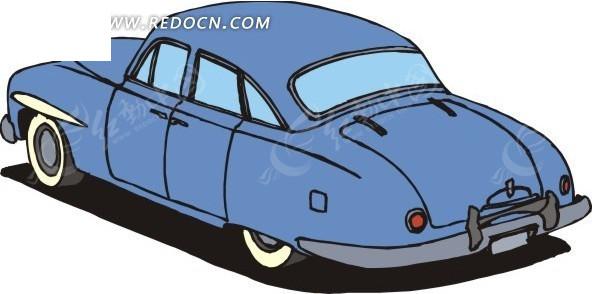 天蓝色的小汽车手绘素材