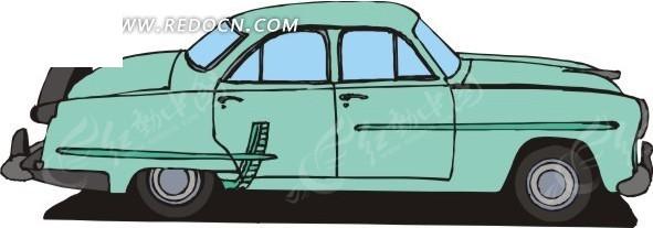 手绘绿色小汽车