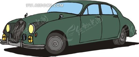 绿色小汽车手绘矢量素材