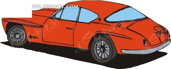 红色小车手绘矢量素材矢量图_交通工具