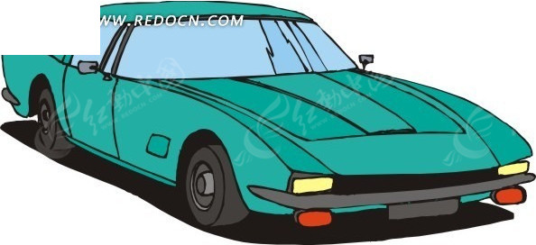 手绘绿色汽车