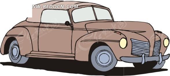 手绘棕色汽车