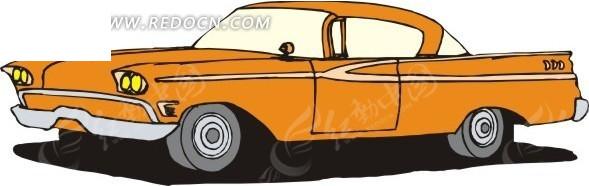 浅橘红色车身的手绘小汽车