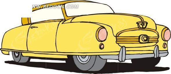 黄色车身的手绘小汽车矢量素材