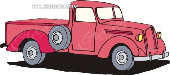 手绘粉色古董车