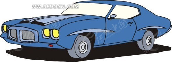 幼蓝色车身的卡通小汽车