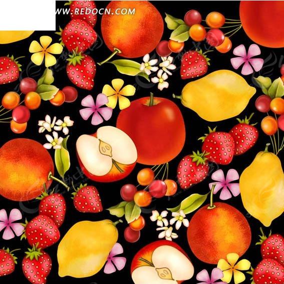 手绘满版构图水果