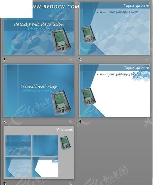 蓝色手机大变革主题ppt模板免费下载_表格图标素材图片