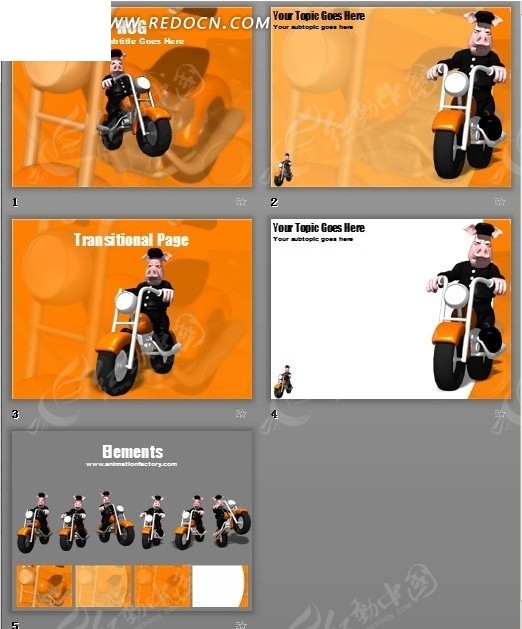骑摩托的3d卡通动物ppt模板