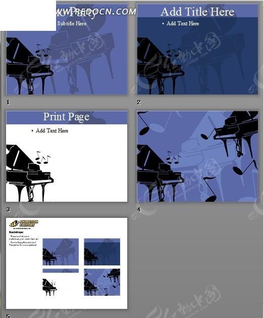 钢琴剪影蓝色背景ppt模板