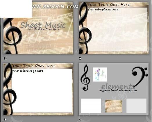 古典乐谱背景ppt模板