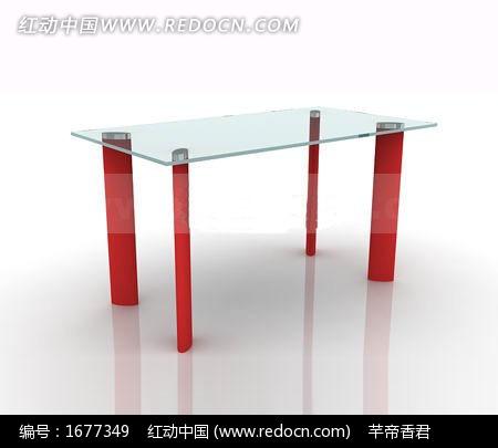 玻璃面扁柱腿餐桌3dmax模型图片