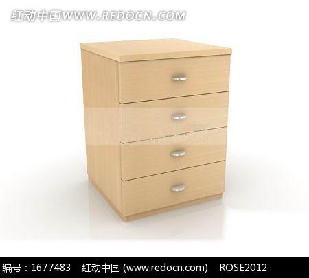 普通三抽屉板式柜子3dmax模型 高清图片