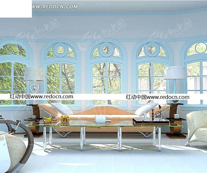 欧式建筑客厅效果图