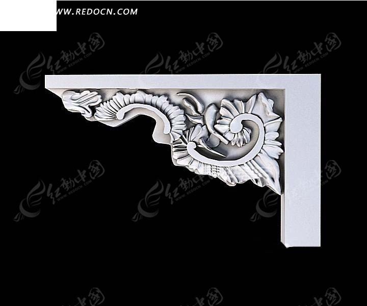 欧式右侧树叶雕花石膏角花3d效果图图片