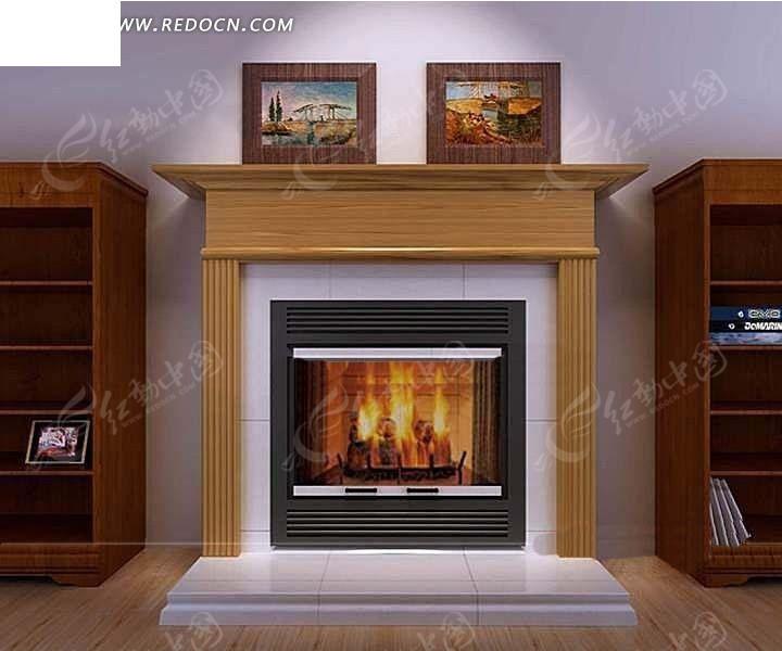 木饰面罗马柱装饰在燃烧的壁炉3dmax模型图片