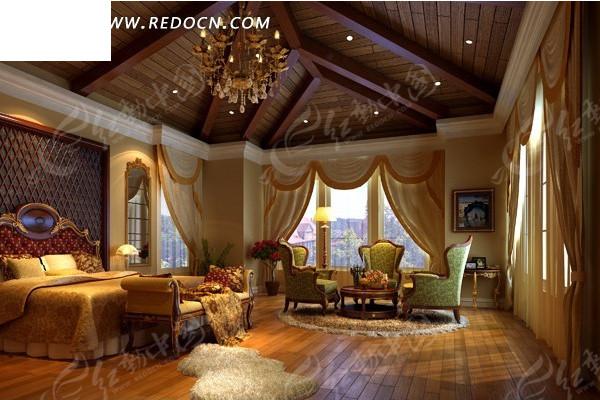 豪华的别墅卧室设计效果图
