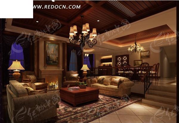 厅及餐厅3dmax模型图片