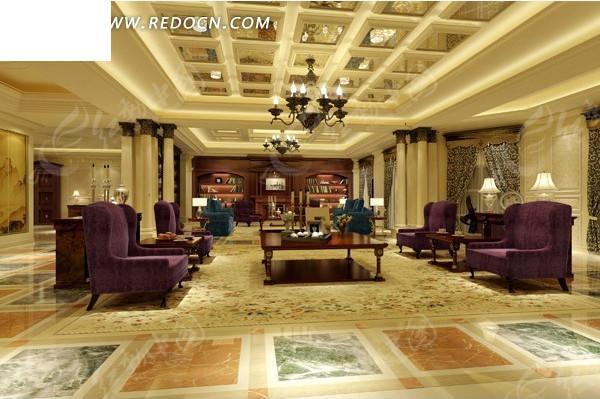 欧式豪华贵气客厅设计效果图