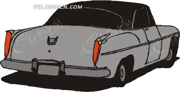 手绘灰色小汽车