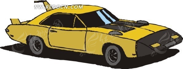 手绘黄色跑车