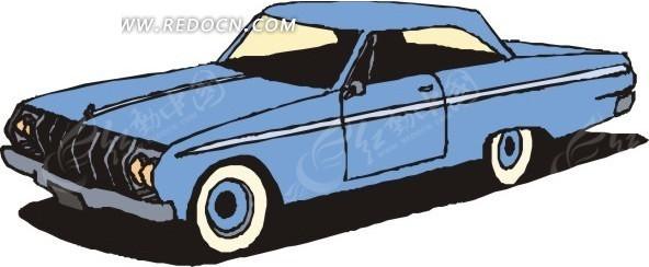 手绘插画蓝色小汽车矢量素材