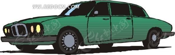 手绘插画绿色轿车