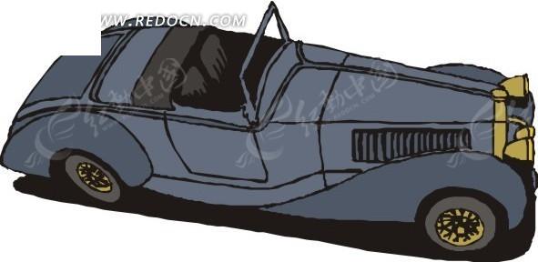 手绘插画俯视的敞篷小车