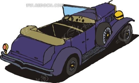 手绘插画深蓝色的敞篷车
