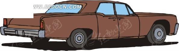 手绘赭石色的小汽车