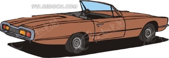 手绘插画棕色的敞篷车