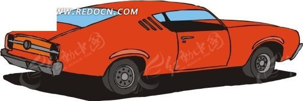 手绘插画红色的小汽车