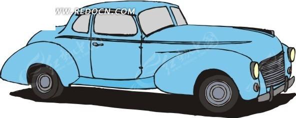 卡通画蓝色小汽车