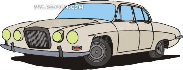 卡通画银灰色小轿车