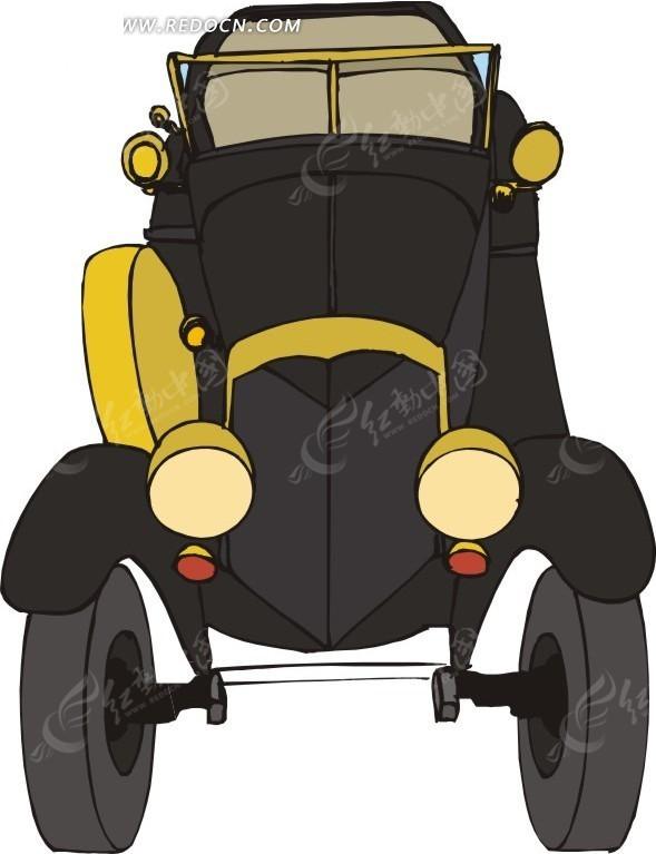 卡通画黑色古董车正面手绘素材
