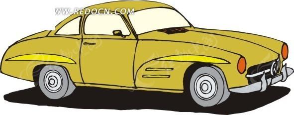 卡通画土黄色车身的小汽车