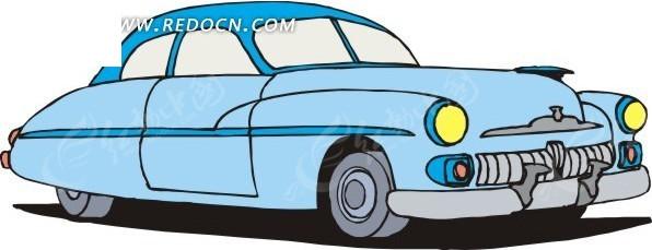手绘淡蓝色车身的小汽车