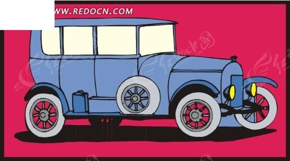 浅蓝色古董车手绘素材