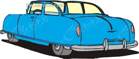 蓝色车身的手绘小汽车矢量素材