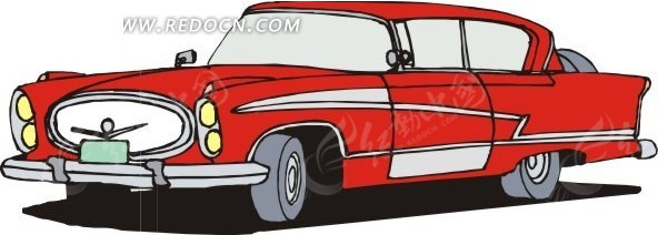 红色车身的手绘小轿车