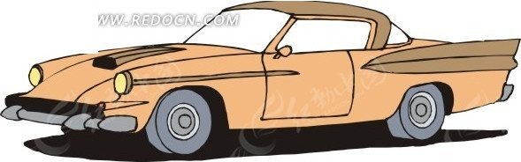 桃黄色手绘小汽车