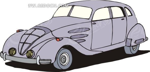 粉蓝色手绘小汽车