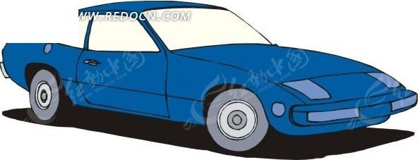 蓝色小汽车手绘素材矢量图