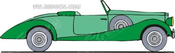 绿色敞篷汽车手绘素材