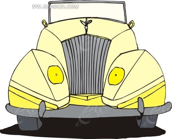 黄色汽车手绘矢量素材矢量图_交通工具