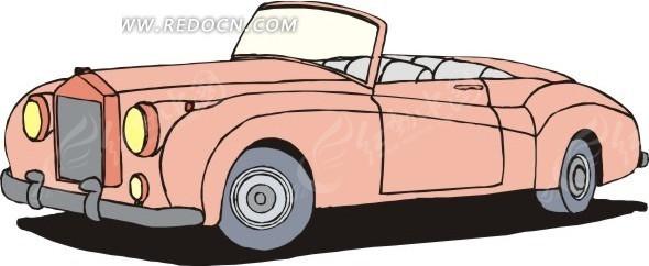 粉色敞篷汽车手绘素材矢量图_交通工具