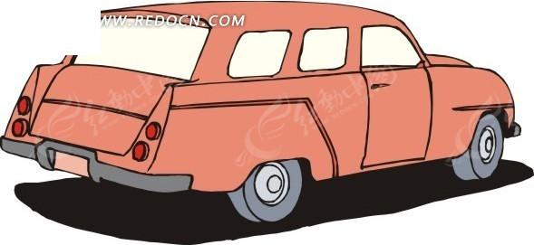 橘红色汽车手绘素材